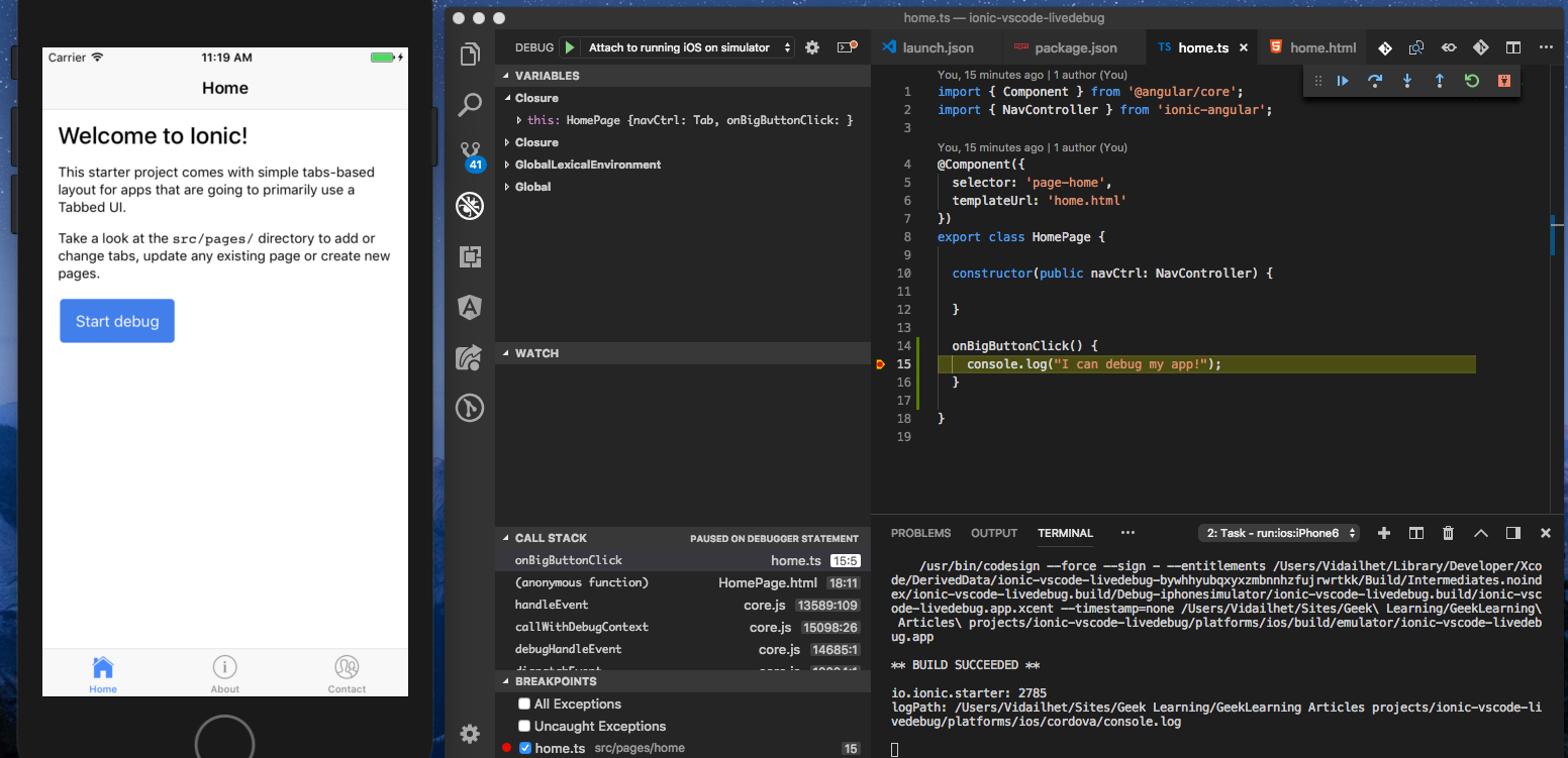 Live debug your Cordova/Ionic application with Visual Studio Code